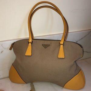 Canvas and Leather Prada Shoulder Bag
